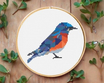 PDF counted cross stitch pattern Bluebird, Geometric pattern, Cross stitch PDF