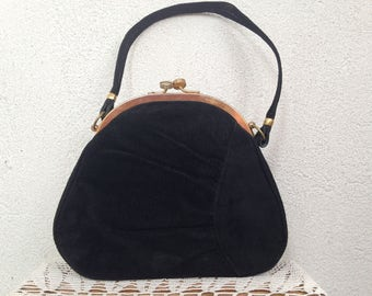 Suede Purse With Gold Tone Metal Frame, Evening Bag With Kiss Lock Closure, Genuine Leather  60s Handbag, Petite Clutch, Mini Prom Purse