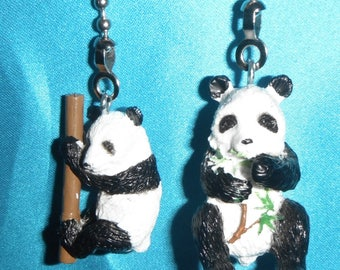 Set of Two ~ Panda Bears Bamboo ~ Ceiling Fan/Light Pulls