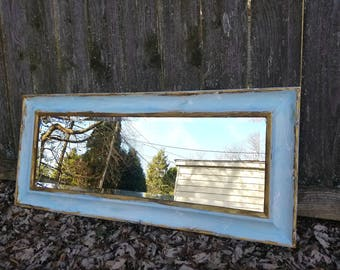 LARGE Wall Mirror Ornate Wall Mirror Entryway Mirror Blue Distressed Hand Painted Home Decor