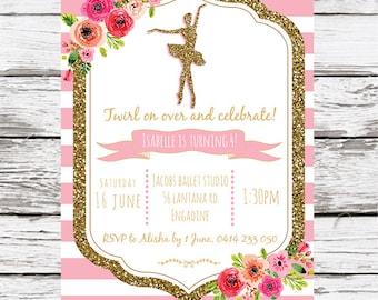 Ballet Birthday Invitation, Ballerina invitation, Printable, Ballerina Party, Ballet Party Pink Dance invite