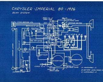 1927 Antique Blueprint Auto Car Chrysler Imperial Engineering Wiring Mechanical Urban Industrial Decor Vintage Car Print