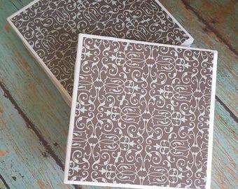Vintage Inspired Coasters-Ceramic Tile Coasters - Coaster Set - Table Coasters - Tile Coaster - Coasters for Drinks