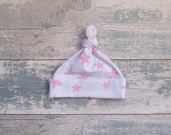 Pink Star Print Baby Tie Knot Hat