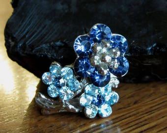 Vintage Blue & Aqua Rhinestone Flower Brooch, Silver, Mod Floral Bouquet, Cobalt, Sky, Ice,Baby Blue,Blue Rhinestone Jewelry,Retro,Mod Daisy