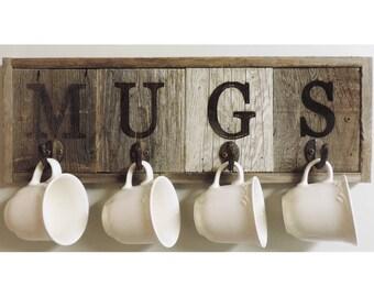 "21.5"" X 7.5"" Rustic 4- Hook Barn Wood Mug Rack"