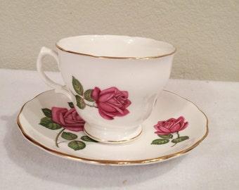 Vintage Royal Vale Pink Rose Teacup & Saucer  Made In England Numbered