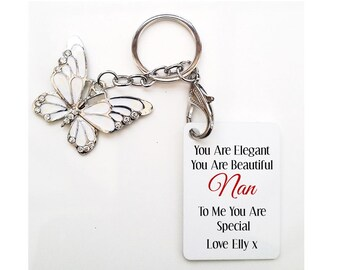 Personalised Grandmother * Nan Butterfly Keyring