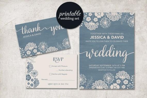 Print Out Wedding Invitations: Modern Wedding Invitation Printable, Rustic Wedding
