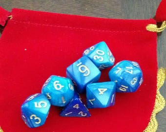 Blue and Gold 7 Die Polyhedral Set with Pouch