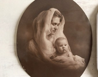 2 Old Black & White Photo Images of a Mother and Child