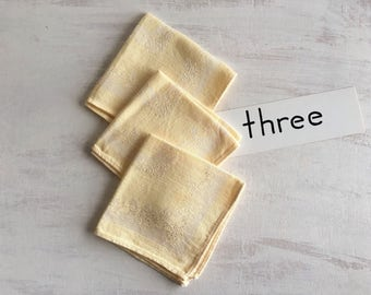 3 Vintage Yellow Linen Tea Napkins