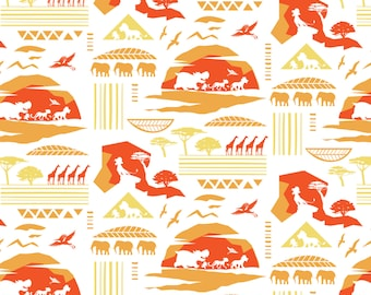 Disney Lion Guard Fabric Savannah in Orange From Camelot 100% Cotton