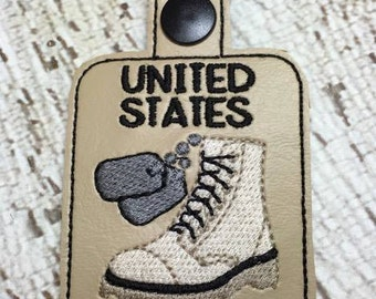 United States POW - Prisoner of War  - Military - Combat Boots, Dog Tags - Key Fob Design - DIGITAL Embroidery DESIGN