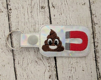 Poop Magnet - In The Hoop - Snap/Rivet Key Fob - DIGITAL EMBROIDERY Design