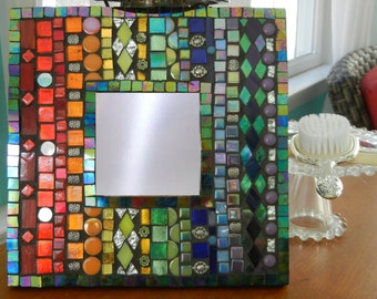 One of a kind, Handmade, Rainbow Mosaic Mirror, Mosaic Wall Art