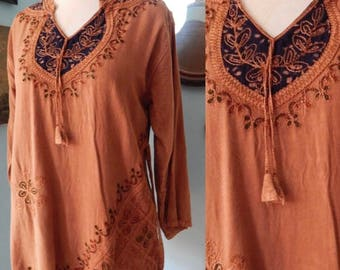 Vintage India tunic blouse ornate soutache embroidery rayon ethnic boho Gypsy