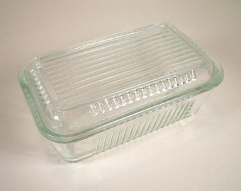 Clear Ribbed Glass Refrigerator Storage Container with Lid, Bake and Store Container, Serve and Store Container