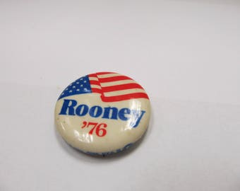 Vintage Political Pin Rooney '76 W #451