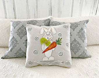 Carrot Toting Bunny, Easter, Spring, Summer, Indoor, Outdoor, Hand-painted, Handmade Pillow Cover