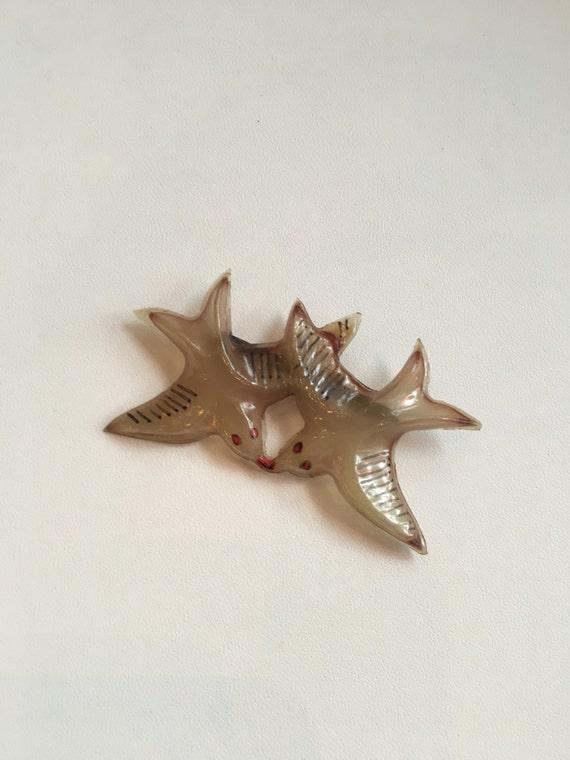 Antique Celluloid Pair of Love Birds Brooch Opaque
