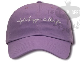 alpha Kappa Delta Phi Handwriting Script Baseball Cap - Custom Color Hat and Embroidery - Handwriting