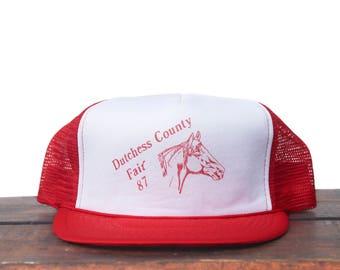 Vintage 1987 Dutchess County Fair Carnival Horse Head Trucker Hat Snapback Baseball Cap