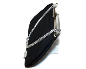 Black Vintage Evening Bag,Black Fabric Purse with Chain Handle,50s-60s Vintage Purse,Small Handbag,Vintage Fabric Bag,Formal Evening Purse