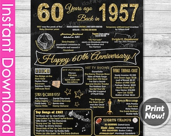 60th Anniversary Gift INSTANT DOWNLOAD, 60th Wedding Anniversary Gift Chalkboard Poster Sign Party PRINTABLE 60 Years Ago Banner 1957 Poster