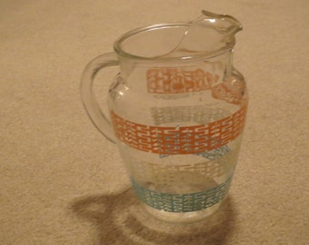 Vintage 1960's Multi Color Striped Clear Glass Pitcher With Ice Lip, Iced Tea Pitcher, Lemonade Pitcher, Water Pitcher