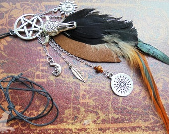 Witchy Pentacle/Pentagram Feather Charm Necklace