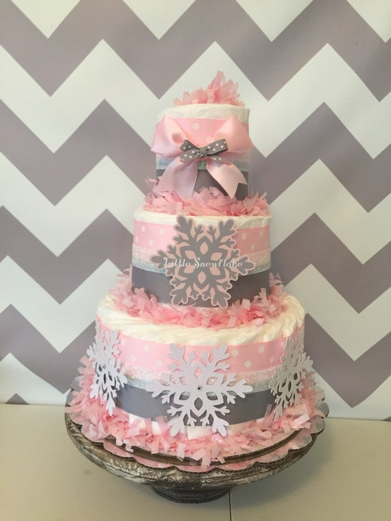 Little snowflake diaper cake in pink and gray winter baby for Baby shower cakes decoration