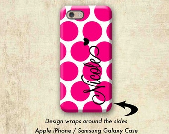Pink Polka Dots iPhone 7 case, Pretty iPhone 6 + case, Fashion iPhone 6s case, Women's iPhone 7 Plus case, Monogram Gift iPhone 6