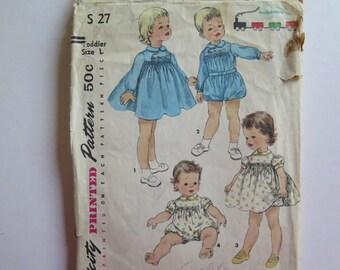 Pattern Simplicity S27//Toddler Dress, Romper and Panties Pattern//Vintage Toddler