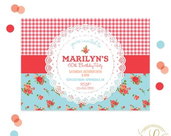 Red Gingham Invitation | Cottage Roses Invitation | Picnic Invitation | Shabby Chic Invitation | Red Gingham Party | Summer Invitation