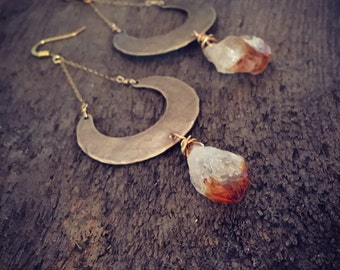 Citrine crescent moon raw crystal goddess earrings / sacral chakra metaphysical / handmade jewelry
