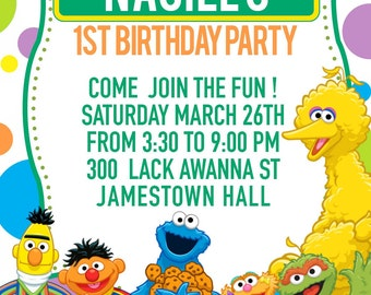 Sesame Street party invitation