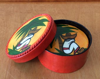 Vintage Lacquer Coasters - Hand Painted Mexican Folk Art - Orange Siesta