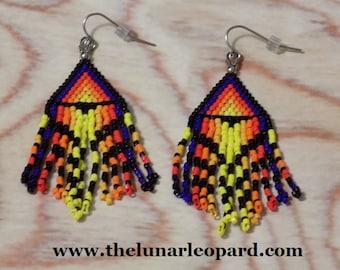 Flame Seed Bead Earrings on Stainless Steel