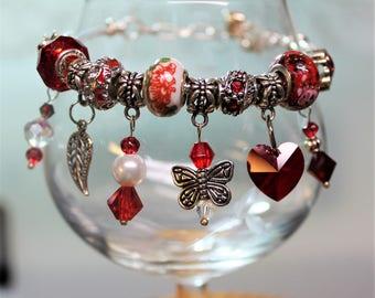 Red European Style Beaded Charm Bracelet