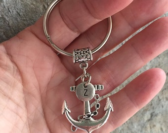 Anchor Initial Keychain/ Anchor Key Ring/ Silver Tone Anchor/ Initial Keychain/ Travel Key Chain/ Graduation/Good Luck/ Nautical Key Chain