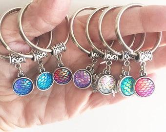 Mermaid Keychain/ Mermaid Scales Keychain/ Mermaid Double Sided Scales/ Mermaid Charm Key Chain/ Mermaid Keyring/ Mermaid Beach Key Ring