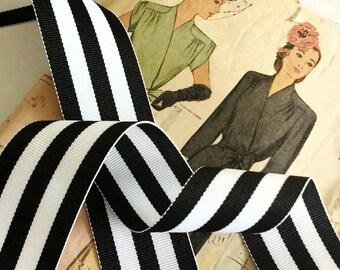 "Black and White Striped Ribbon, Striped Grosgrain Ribbon 1.5"""