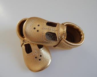 Leather Metallic T-Strap Baby/Toddler  Mary Jane/Baby Shoes/Toddler Shoes/Childrens Shoes/Moccasins/Girls Shoes/Mar Janes/Girls Flats/Shoes