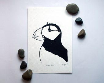 Horned Puffin Silk Screen Print in Black - Hand Printed on Canaletto Paper - 170x250mm - PRINT ONLY