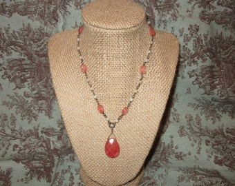 pink stone beaded necklace