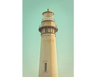 Pigeon Point Lighthouse Photography California Coastal Nautical Theme Photo Art Lighthouses Pictures in Teal Green Color Boys Room Decor