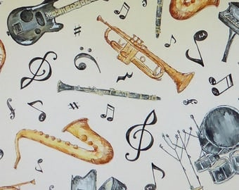 Play Your Song-Music~Cotton Fabric, Quilt, Home Decor~Wilmington Prints~Fast Shipping,N394