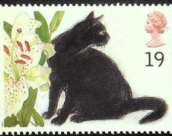 Mysterious black cat -Handmade Framed Postage Stamp Art 21219AM