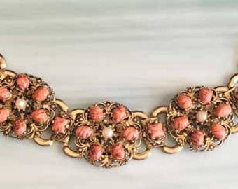 Antique, 1960s, Marbled Salmon Colored Bead & Pearl Bracelet